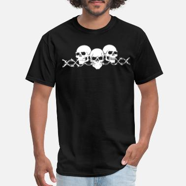 Anchor And Wheel Tattoo Barbed Wire Skulls with Sleeves Long Sleeve Biker - Men's T-Shirt