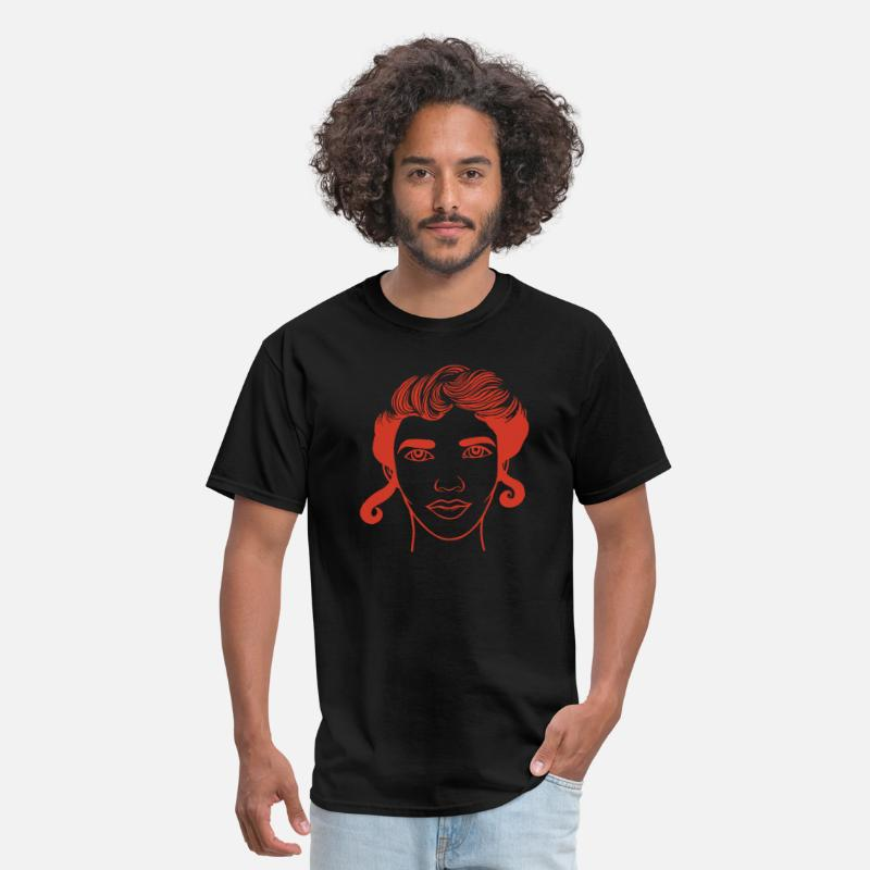 Hair T-Shirts - Lady in red! Beautiful Woman Face - Men's T-Shirt black