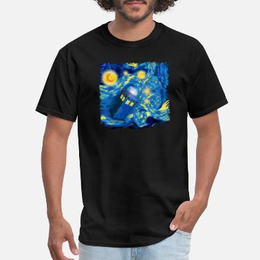 Adobe Photoshop Blue Phone Booth At Starry night - Men's T-Shirt