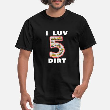 Concrete 5 Year Old I Luv Dirt Kids Birthday Fun Machinery. - Men's T-Shirt