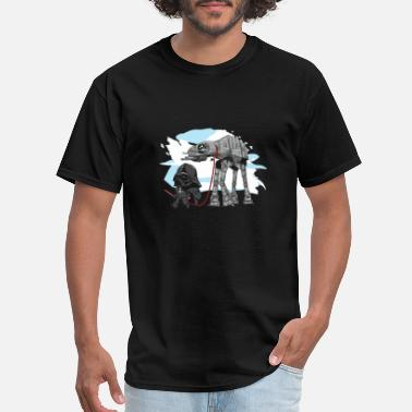 Darth Vader Snowboarding Darth Vader walking a Pesky AT - AT - Men's T-Shirt