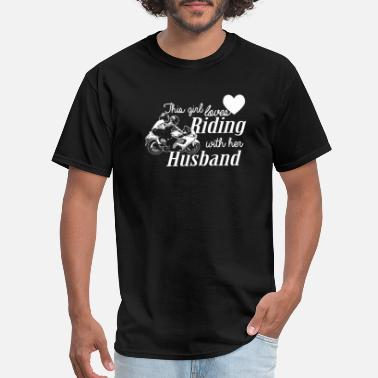 Girl Riding Bomb RIDING - THIS GIRL LOVES RIDING WITH HER HUSBAND - Men's T-Shirt