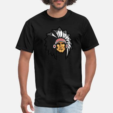 Indian Apache rock_face_indian_chief_black_border - Men's T-Shirt