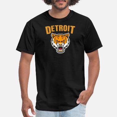 Detroit Tigers Funny Detroit loves - tiger mascot with distressed det - Men's T-Shirt