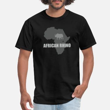 African Man African Rhino with african map - Men's T-Shirt