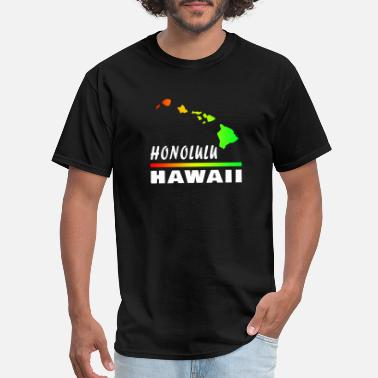 Honolulu Surf Hawaii Honolulu with map - Men's T-Shirt