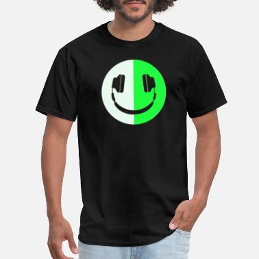 Dark Glow In The Dark Headphone Smiley - Men's T-Shirt