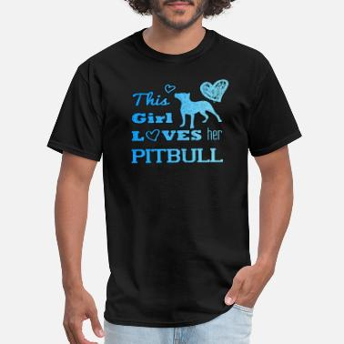 Cutie This Girl Loves Her Pitbull - Men's T-Shirt