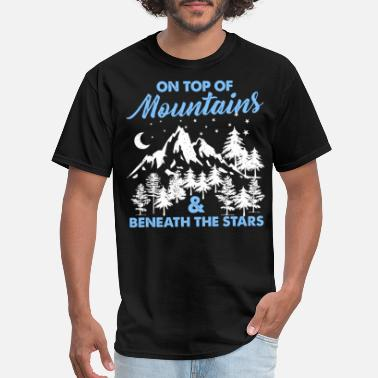 Star Trails On Top Of Mountains And Beneath Stars - Men's T-Shirt
