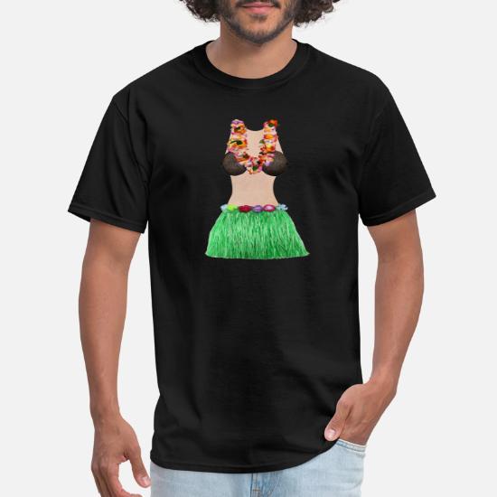 a06e8ba96 Coconut Bra Lei Flowers Grass Skirt Cool Luau Men's T-Shirt ...