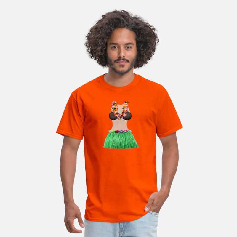 2501b377a Coconut Bra Lei Flowers Grass Skirt Cool Luau Men's T-Shirt   Spreadshirt