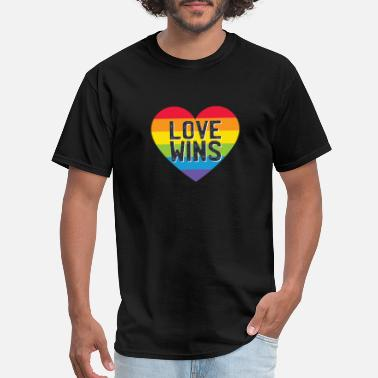 Love Wins Rainbow Flag Love wins rainbow heart - Men's T-Shirt