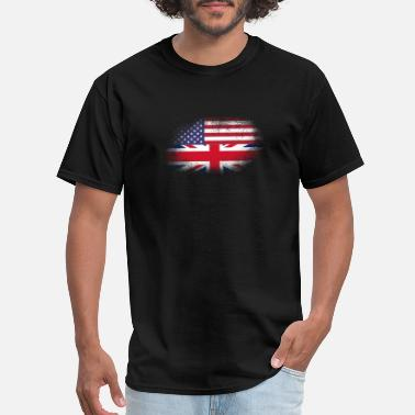 British Heritage Distressed Half America Half UK Flag Mix - Men's T-Shirt