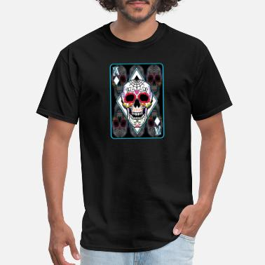 Dead Ace Sugar Skull Ace Card T-Shirt Day Of The Dead Pun - Men's T-Shirt