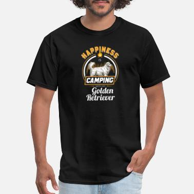 Cut Happiness is Camping with My Golden Retriever - Men's T-Shirt