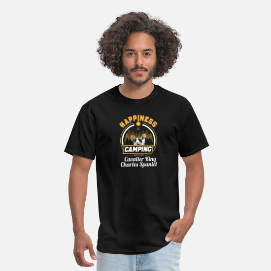 Charles T-Shirts - Happiness is Camping with My Spaniel - Men's T-Shirt black