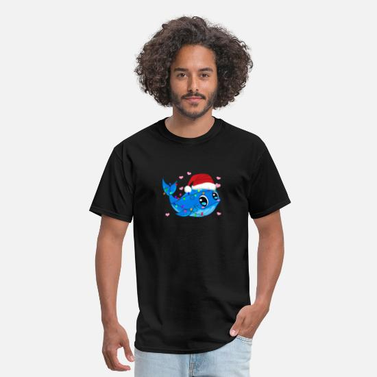 Christmas T-Shirts - Whale With Christmas Tree Lights Funny Xmas Gift - Men's T-Shirt black
