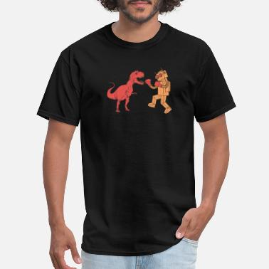 Dinosaur vs Robot Unisex Mens Retro SciFi Tee Awes - Men's T-Shirt