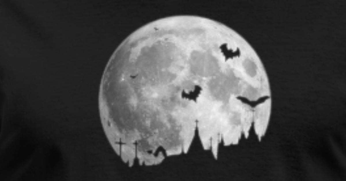 8346e8987e7 Moon Halloween Bats Spooky Haunted House Creepy Men s T-Shirt ...