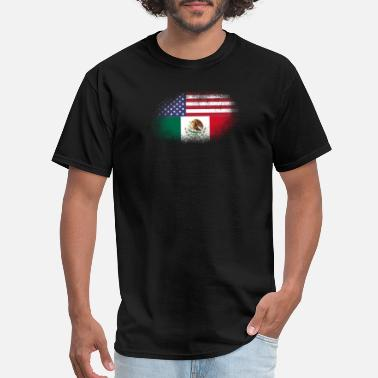 Half Mexican Half American Distressed Half America Half Mexico Flag Mix - Men's T-Shirt