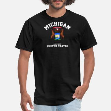 Patriote 1837 Michigan USA Est 1837 Patriotic Flag T Shirt - Men's T-Shirt