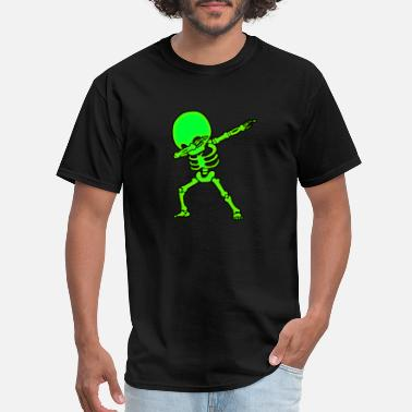 Neon Dabbing Big Head Skeleton Neon Glow Funny - Men's T-Shirt