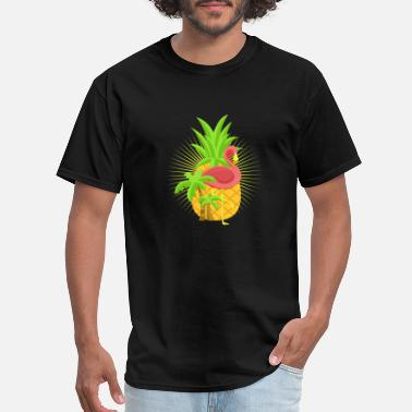 Anime Palm Tree exotic pineapple pink flamingo under palm trees - Men's T-Shirt