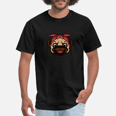Red Face Pug Bandana T-Shirt Funny Cool Canine Dog Lover - Men's T-Shirt
