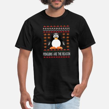 Fat Penguin Funny Ugly Christmas With Fat Penguins Snowflake - Men's T-Shirt