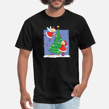 Christmas Tree Decorations christmas angels decorating tree - Men's T-Shirt