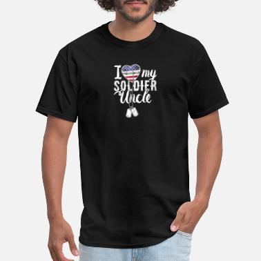 I Support My Soldier I Love My Soldier Uncle Dog Tag Military Support - Men's T-Shirt