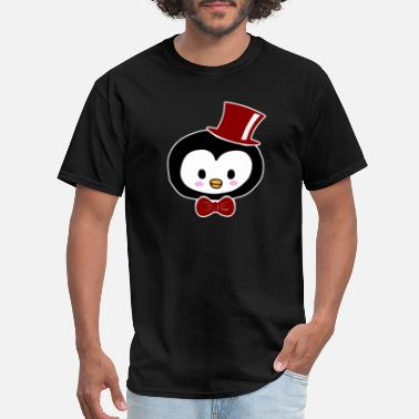 Cute Black Penguin penguin with a cap cute gift animal face baby - Men's T-Shirt