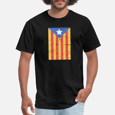 Flag Of Catalunya Distressed Catalonia Catalunya Flag - Men's T-Shirt