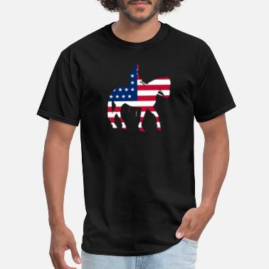 Horse Jockey Rides Horse Riding Jockey American Flag - Men's T-Shirt