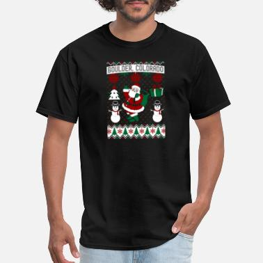 Bouldering Christmas Ugly Sweater Boulder Colorado - Men's T-Shirt