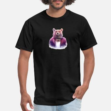 Hipster Bowtie Hipster Bear Glasses Bowtie - Men's T-Shirt