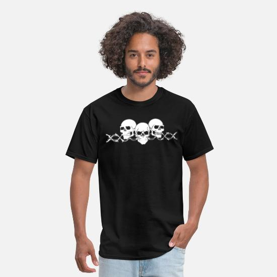 Beard T-Shirts - Barbed Wire Skulls with Sleeves Long Sleeve Biker - Men's T-Shirt black