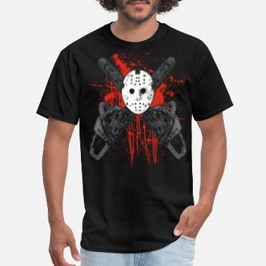 Hockey Team Chainsaw Hockey Mask With Blood Splatters - Men's T-Shirt