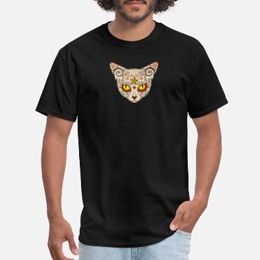 Dead-face day of the dead cat face - Men's T-Shirt
