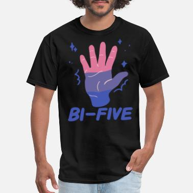 Gay Bachelor Party Bi Five High Five Bisexual LGBT Rainbow Pride Tee - Men's T-Shirt