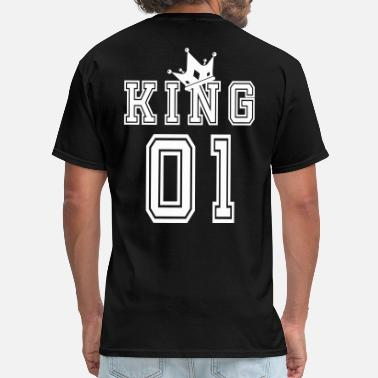 King Queen Valentine's Day Matching Couples King Jersey - Men's T-Shirt