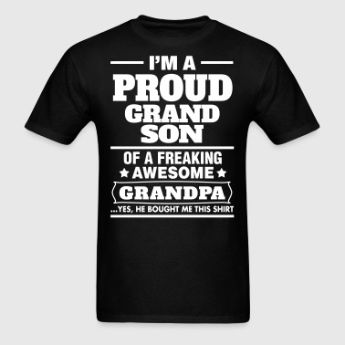 Proud Grandson Of A Freaking Awesome Grandpa - Men's T-Shirt
