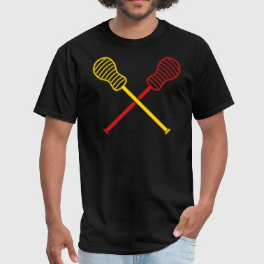 crossed lacrosse sticks - Men's T-Shirt