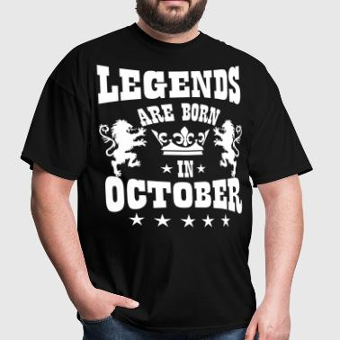 Legends are born in October Lions Crown Birthday - Men's T-Shirt