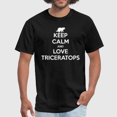 Triceratops Keep Calm and Love - Men's T-Shirt