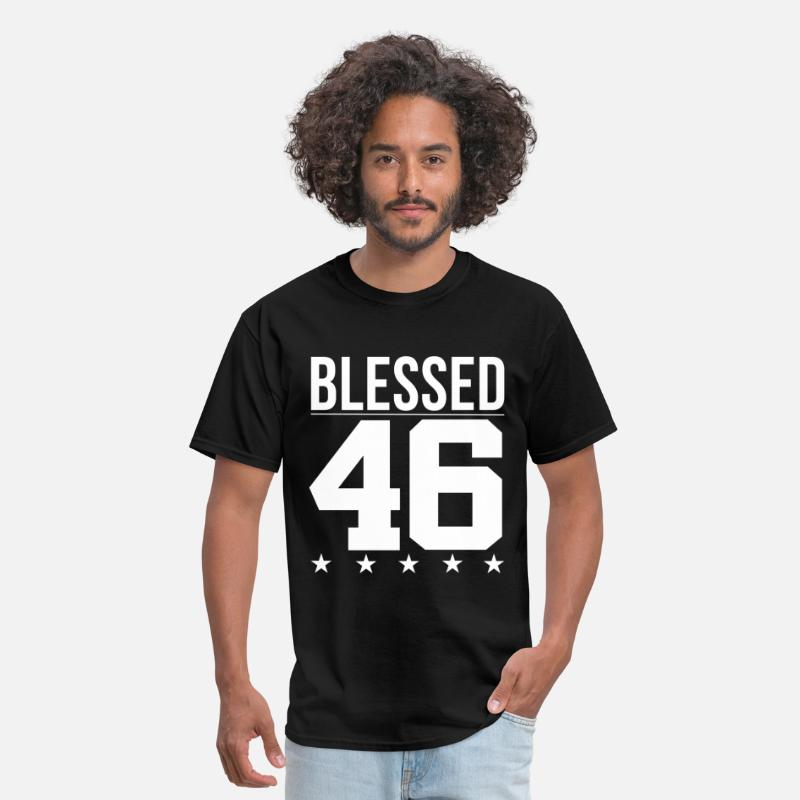 Birthday T-Shirts - Blessed 1946 Bible Verse Quote Birthday Greeting - Men's T-Shirt black