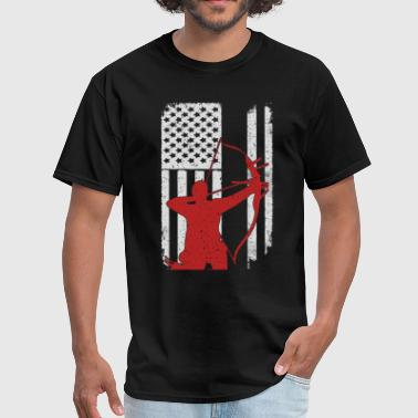 Bow Hunting Flag Archery Bow Hunting - America USA Flag T-Shirt - Men's T-Shirt