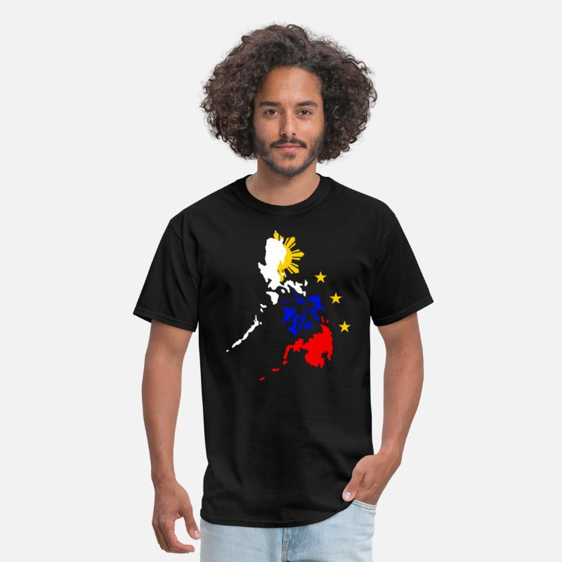 Philippines T-Shirts - Map of Philippines with 3 Stars and Sun T Shirt - Men's T-Shirt black