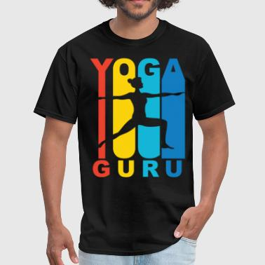 Yoga Guru Warrior Two Yoga Pose Retro T-Shirt - Men's T-Shirt