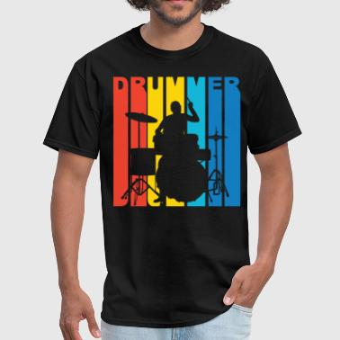 Casual Drummer Silhouette Retro Music T-Shirt - Men's T-Shirt